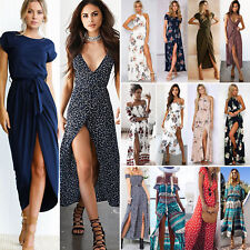 Women Boho Floral Maxi Long Dress Evening Party Beach Casual Side Slit Sundress