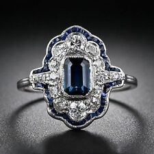 Antique Blue Sapphire Wedding Engagement 925 Silver Ring Fashion Jewelry Size8
