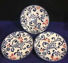 "PIER 1 IMPORTS Ceramic ""Butterfly Blossoms"" Set Of 3 Salad Plates"