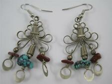 Old Ethnic Turquoise Brown Stone Dangle Earrings Coil Design Fashion