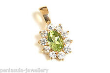 9ct Gold Peridot Cluster Pendant no Chain Made In UK Gift Boxed