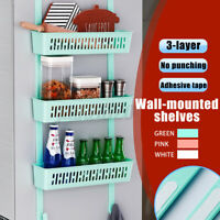 Wall Mounted Kitchen Fridge Hanging Rack Bathroom Over the Door Holder Shelf =
