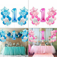 Baby Boy Girl 1st First Birthday Latex Confetti Balloon I Am One Bunting Banner.