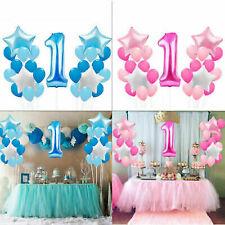 Baby Boy Girl 1st First Birthday Latex Confetti Balloon I Am One Bunting Banner.