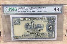 1945 Scotland, North Of Scotland Bank Ltd 1 Pound P-S644 PMG 66 EPQ