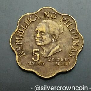 Philippines 5 Sentimos 1978. KM#206. Brass Five Cents Coin. Last year issue.