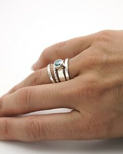 March Birthstone Ring adjustable ring mothers ring triangle ring geometric ring dual birthstone ring DOUBLE TONE RING Aqua Chalcedony ring