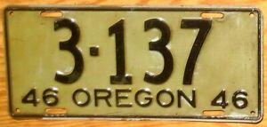 1946 Oregon License Plate Number 3137 Tag