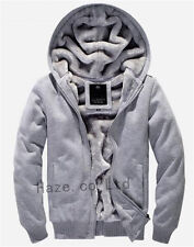Plus Size Mens Warm Fur Lined Hooded Casual  Jacket Thicken Sweater Hoodie Coat