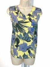 Palm Grove Womens Sleeveless V-Neck Stretchy Floral Pullover Top XL Blue&Yellow