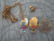 Vintage Smurf Smurfette Enamel Lapel Pin & Necklace Lot: by Peyo 1980-HTF used