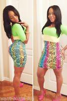 Women's Summer Animal Print& Block Colour Bodycon Party Thigh High Dress