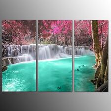 FRAMED Landscape Canvas Print Art Green Pool Wall Art Canvas Painting Print-3pcs
