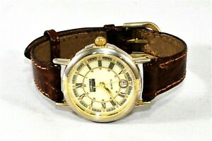Brittania Railroad Dial with Date Watch Leather Strap New Battery