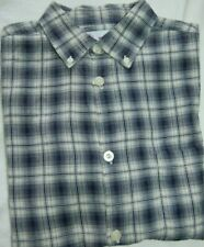 YOUR GENERATION BOYS L NAVY BLUE & WHITE PLAID SHORT SLEEVE BUTTON FRONT SHIRT