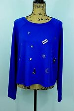 Juicy Couture Cropped Sweatshirt XL Crew Spell-out Letter Embellished Glitter