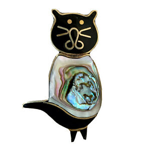 Vintage Cat Pin Brooch Alpaca Silver Mexico Abalone Shell Inlay, Cat Lover Gift