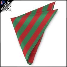 Mens Green & Red Striped Pocket Square South Sydney Colours Rabbitohs Hanky