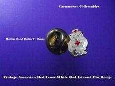 Vintage American Red Cross White Owl Enamel Pin Badge.14mm. AH0026.