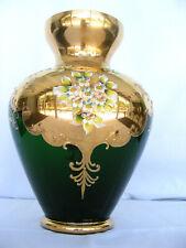 HUGE VTG BOHEMIAN EMERALD GREEN CRYSTAL FLOWER VASE GOLD GILDED FLORAL HAND MADE