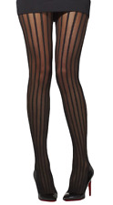 Ladies Sexy Striped Black Halloween Burlesque Show Dancer Fancy Dress Tights