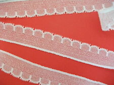 """FC267 White Cotton Cluny Nottingham Tulle Lace Trim 1"""" wide.Made in G. Britain"""
