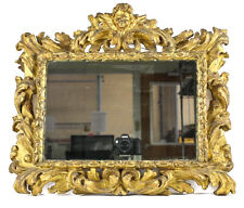 18th Century continental Wall Mirror gilt on gesso carved wood framed w/ Putti