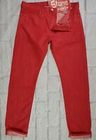 Levis Made & Crafted Red Straight Slim Leg Jeans Zip Fly W36 L34 £180 New