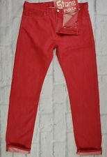 Levis Made & Crafted Red Straight Slim Leg Jeans Zip Fly W34 L34 £180 New