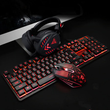 Gaming Mouse Mechanical Home Headset Backlight Ergonomic Keyboard Set USB Wired