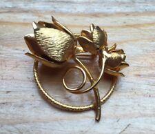 VINTAGE Floreale Rose Spilla/CORONA/Tono Oro in Metallo/Pin/Pizzo/Scialle/Retrò
