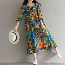 ZANZEA Womens Floral Party Evening Prom Loose Tunic Midi Dress Baggy Kaftan Plus
