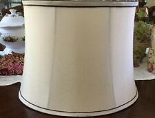 Empire Oval Bell Lamp Shade Cream Ivory w Black Trim