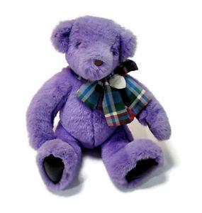 "Vintage 1992 Victoria's Secret Teddy Bear Purple Plush W/ Bow 11"" Stuffed Animal"
