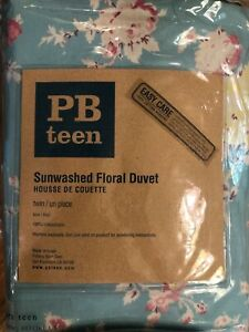 PB teen Duvet Cover Sunwashed Floral Twin Blue Chic Shabby Country NEW