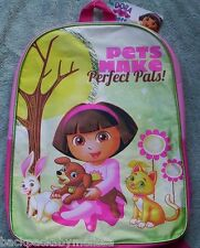 DORA The Explorer PETS Pink Canvas Backpack NEW Book Bag Tote PUPPY BUNNY KITTY