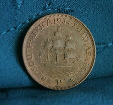 South Africa 1 Penny 1934 Bronze World Coin African Dromedaris Sailing ship boat