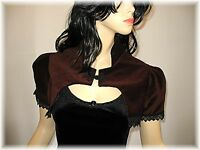 Victorian Velvet Puffed Sleeve Shrug Bolero Goth Vampire Steampunk OBSIDIAN