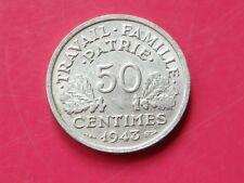france 50 centimes 1943 bazor  francisque lourde  poids  0.8 km#914.1  gad.425