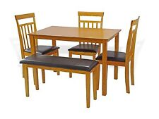 Dining Kitchen 5 Pcs SET Rectangular Table 3 Warm Chairs Bench Maple Finish