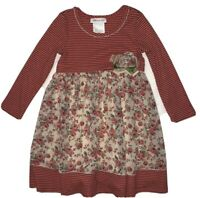 Bonnie Jean Floral Striped Dress Girls 4T Toddler Pink Long Sleeve Cute Dressy