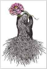 Japanese Postcard: Porcupine (or Hedgehog?) with Rose - Higuchi Yuko