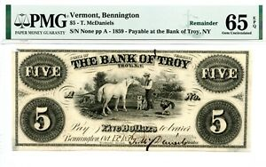 1859  $1  Bennington, Vermont & Troy New York.   PMG 65 EPQ
