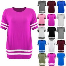 Plus Size Womens Ladies Stripe Baseball Oversized Top Sports Pullover T Shirts