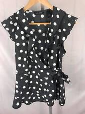 NWT AXCESS Ruffled Front Polka Dot Top Blouse Women's M Retail $44 (AA)