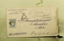 DR WHO 1886 BELLE PLAINE IA FANCY CANCEL HOTEL ADVERTISING PLUS LETTER  f29684