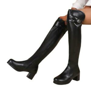 Women's Over The Knee Winter Faux Leather Ladies Block Heel Thigh High Boots L