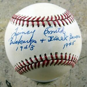 Quincy Smith - Autographed Ball - Black Barons - Negro Leagues - 1945