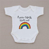 PERSONALISED unisex baby clothing rainbow vest babygrow baby shower gift SLOGAN