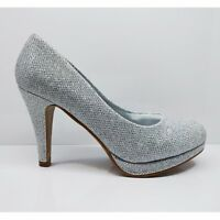 WOMENS LADIES STILETTO WEDDING PARTY PROM GLITTER HEELS COURT SHOES SIZE